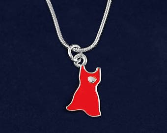 12 Red Dress Charm Necklaces in Gift Boxes (12 Necklaces) (N-P3S-HRT)