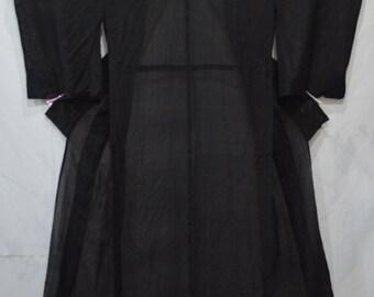 Japanese Kimono / Dressing Gown / See Through / Black 5 Crests / Summer Kimono / Yukata