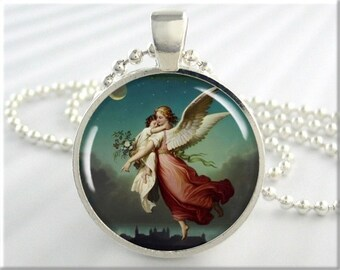 Guardian Angel Pendant, Wilhelm Von Kaulbach Art Charm, Resin Angel Necklace, Picture Jewelry, Round Silver, Spiritual Gift 205RS