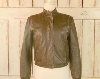 Vintage leather jacket/olive green leather jacket/motorcycle jacket