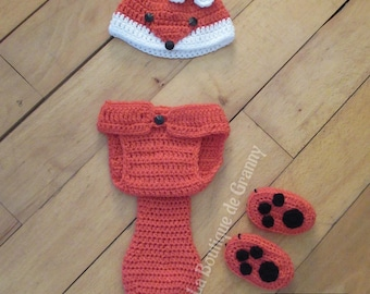 Baby Photo Prop Fox Hat, diaper cover and booties