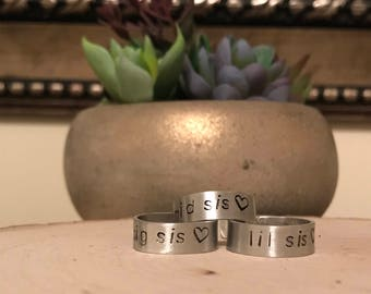 Sister Ring, Sister Jewelry, Big Sister, Little Sister, Sister Gift, Sister Birthday, Gifts for Sisters, Sis, Big Sis, Mid Sis, Lil Sis