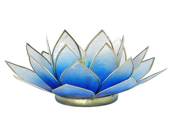 Lotus candle tea light holder atmospheric light - golden lining - blue to white
