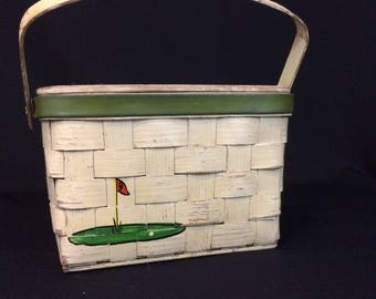 Basket Purse Golf Theme Vintage 1960's Hand Painted Caro-Nan Handbag