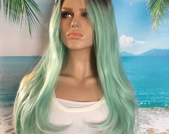 Mint Green Wig, Pastel Wig,Synthetic Wig, Lace Front Wig, Heat Resistant Wig, Mermaid Hair, Cosplay Hair, Long Wig, Wavy Wig
