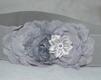 Chiffon Flower cinch belt, Wide elastic stretch corset belt,  stretch belt, Wide belt, Silver Gray belt, Gray stretch belt