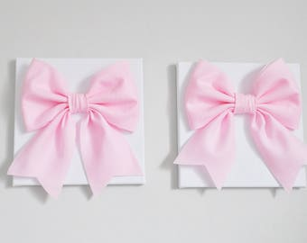 Baby Pink Bows High Quality Light Pink Wall Art with Perfect Tied and Sewn Bows, Baby Nursery Art, Girls Bedroom Decor, Bathroom Kitchen Art