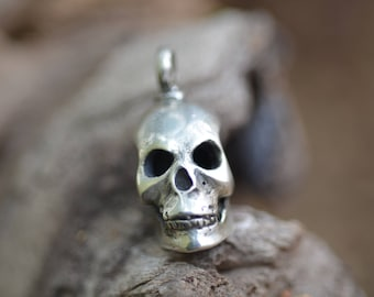 Silver Skull Drop Bead / Robert Burkett Design / Sterling / Steam Punk / Cast Beads / Jewelry Makers / For Him / For Her / Hand Carved