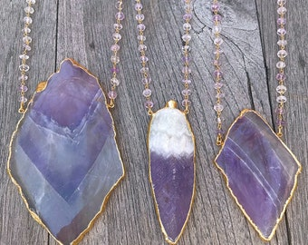 Large Amethyst Necklace // Amethyst Necklace // Large Feather Necklace