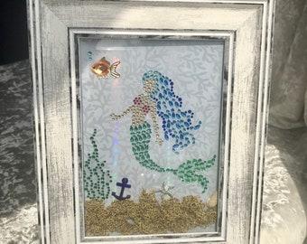 Framed Mermaid Art - handmade