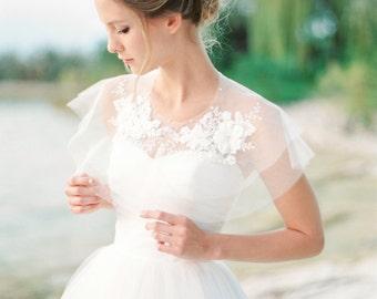 Silk tulle lace bridal capelet, lace bridal cover up, silk tulle cape, tulle shrug, tulle bolero, Style A01