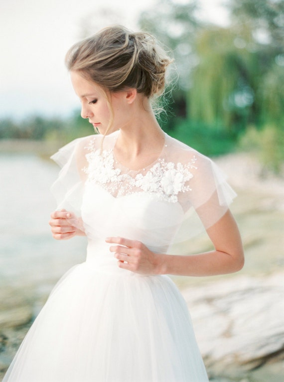Silk tulle lace bridal capelet lace bridal cover up silk