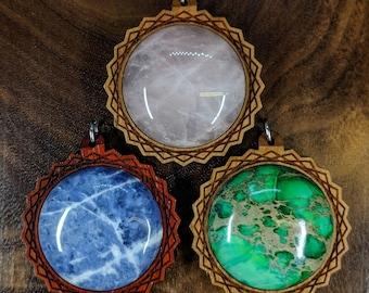Hexagon Portal 30mm Gemstone Hardwood Pendant - Crystal Gem Custom Sacred Geometry Laser Cut Natural Wood Wooden Cabochon