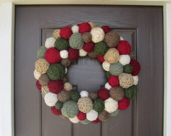 Handmade Christmas Wreath.  Winter Yarn Ball Wreath. Holiday Wreath. Winter Wreath. Yarn Wreath. Door Hanging. Door Decor.Wall Hanging.