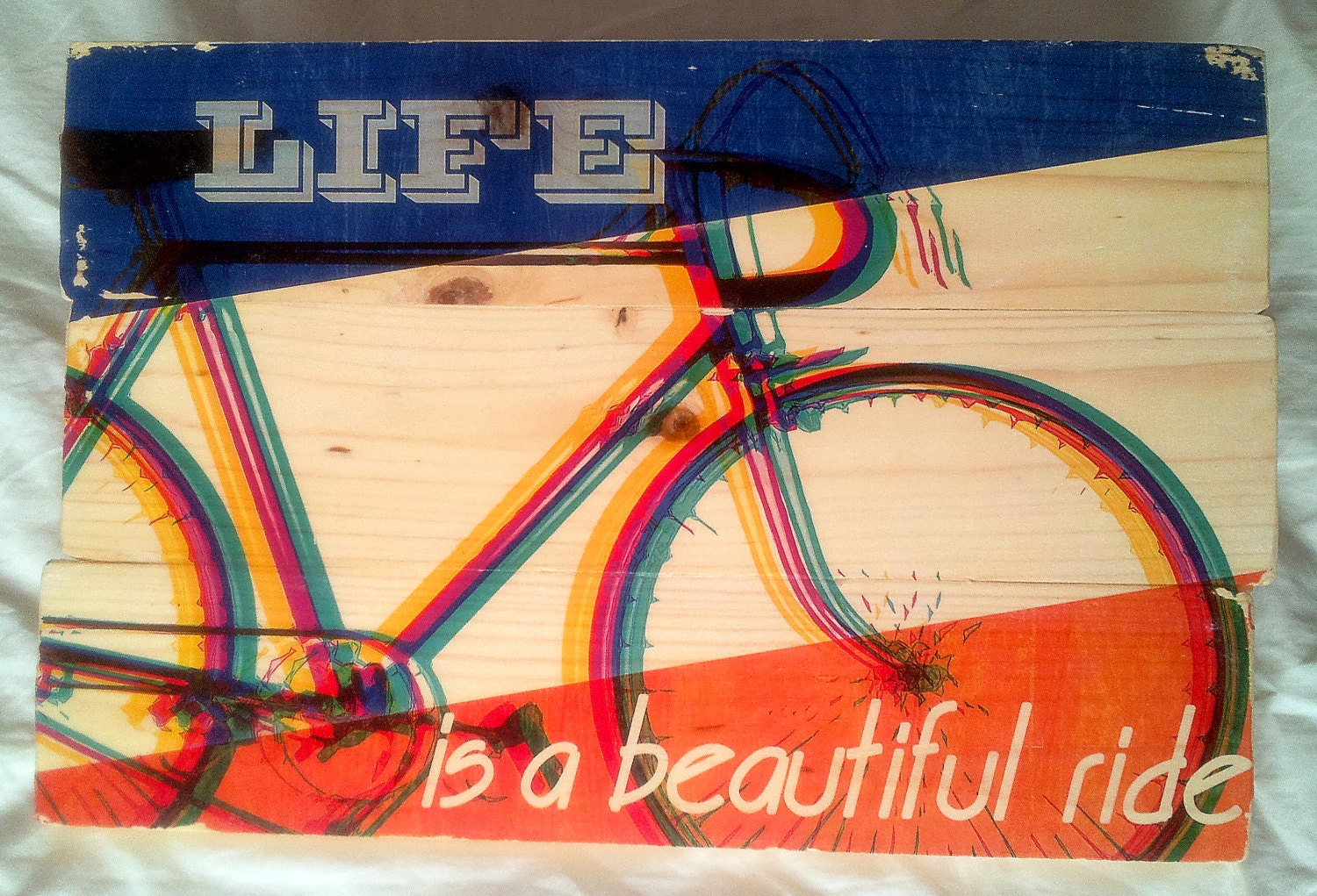 Retro Bicycle Wall Art on Solid Wood Boards - Life is a Beautiful ...