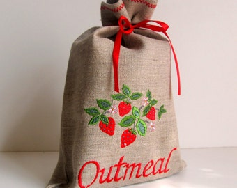 Natural Linen Outmeal Bag, Embroidered, Burlap Condiment Holder, Handmade Strawberry Sachet, Grey, 100% Pure Linen, Eco-friendly Gift