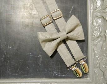 Adult Mens Suspenders Bow Tie set Grey Gray