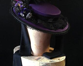 Purple round rococo hat