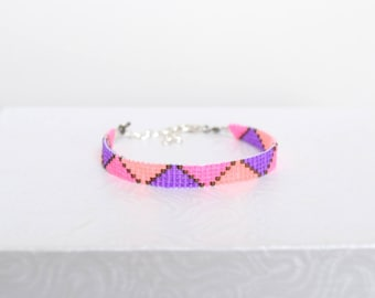 Pink, purple, and salmon Miyuki Delicas beads woven bracelet