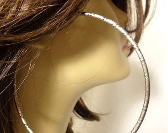 Large HOOP EARRINGS 4 inch Frosted Textured Hoop Earrings Solid Tube Cast Hoops