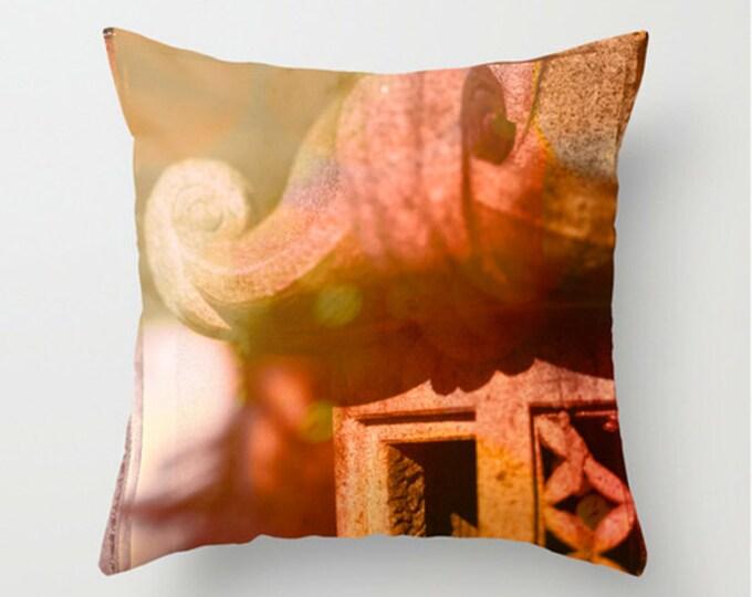 Japanese Lantern Sofa Pillow, Fire Red Accent Pillow, Bokeh Throw Pillow Cover, 18x18 24x24 Decorative Pillow Cushion