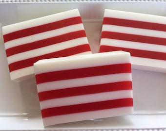 Peppermint Soap - Candy Stripe Soap - Gift for Nurse - Red Stripe Soap - Mint Soap - Glycerin Soap - Handmade Soap