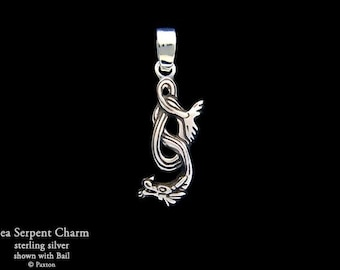 Sea Serpent / Water Dragon Charm / Necklace Sterling Silver