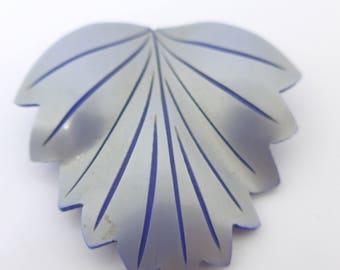 Vintage Art Deco Silver Blue Celluloid Lucite Dress Clip