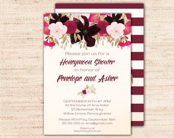 Boho Honeymoon Shower Invitations, Printable Bohemian Honeymoon Bridal Shower Invite, Purple Wedding Shower Invitation Instant Download K002