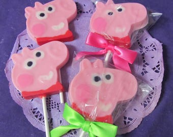 Peppa pig shaped chocolate lollipops 12