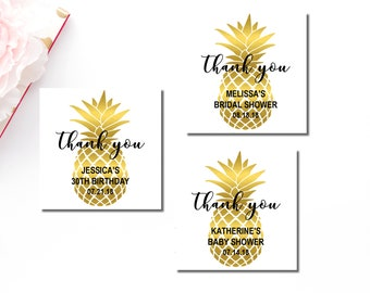 Gold Pineapple Favor Tags Printable, Personalized Favor Tags, Tropical Hawaiian Luau Thank You Tags, Bridal Shower, Birthday Wedding, B74