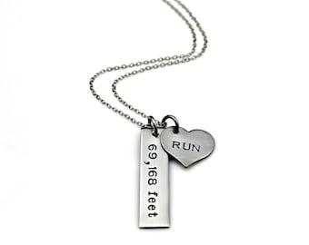 RUNNER FEET Distance Half Marathon Run Stainless Steel Necklace - Hand Stamped 69,168 feet