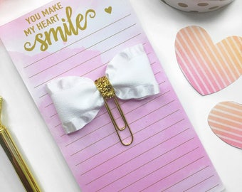 White and Gold Planner Clip / Planner Bow Clip / White and Gold Paper Clip