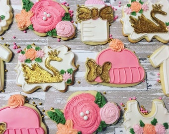 1 dozen beautiful gold swan and floral baby girl shower cookies!