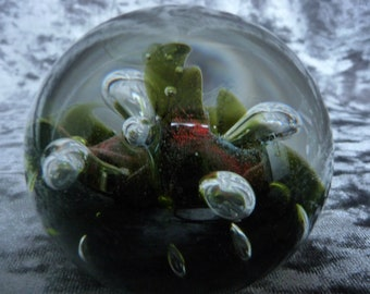 Rare Sea Dance Caithness Colin Terris Style Glass Paperweight Controlled Bubble Retro Art Glass