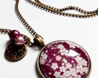 Necklace * Cherry Blossom * Spring Japan small Burgundy pink sakura flowers, glass cabochon