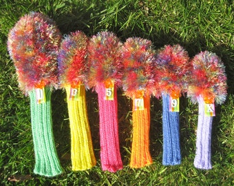 Golf Club Head Covers Loud Mouth furry Custom Made By Hand multi color - Golf Club Covers - Golf Head Covers