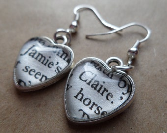 Upcycled Cross Stitch/Outlander Book Page Earrings - Jamie's Claire