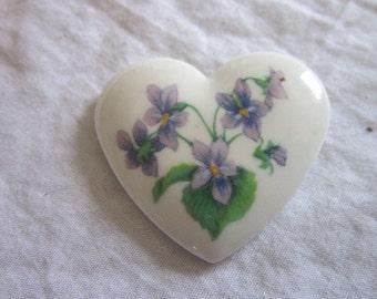 Vintage Designer Avon Porcelain Heart Brooch