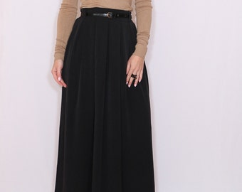Black wool skirt Women long skirt High waisted maxi skirt with pockets A line wool skirt