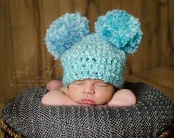 Baby pom pom hat, Blue pom pom hat, Double pom pom hat, Newborn pom pom hat, Baby girl hat, Baby boy hat, Newborn photo props