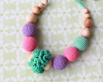 Classic Nursing Necklace in Purple, Pink and Mint - Juniper Wood