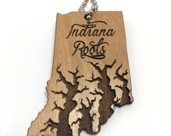 Personalized Key chain, Indiana State Key chain, Wood Key charm, Personalized Indiana State gift