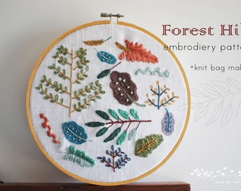 Forest Hill Embroidery PDF Pattern + knit bag making pattern
