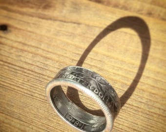 Quarter Dollar Coin Ring - 1981 USA - Upcycled Jewellery - Size Q (UK)