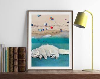 "Surreal collage art, cat print, surreal collage art, white cat print, beach print, cat collage art, vintage beach art - ""Cat spirit""."