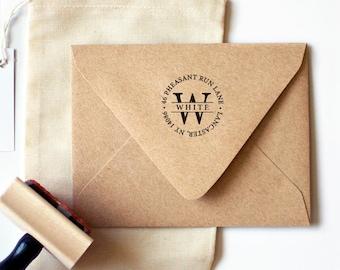 Circle Monogram Return Address Stamp