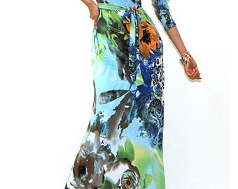 Floral Belted V-Neck Maxi Dress  - Faux Wrap Style