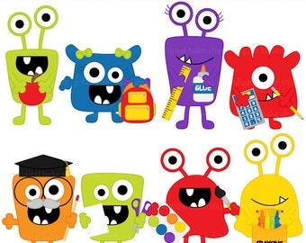 school clip art clipart monsters aliens digital - School Monsters Digital Clip Art - BUY 2 GET 2 FREE