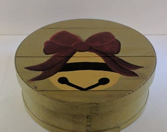 Jingle Bell Hand Painted Re Purposed Wood Cheese Box With Divider. Uses: Gift Box, Storage, Organization, and Decor.